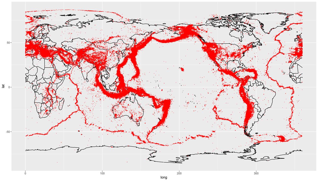 世界で発生した地震の発生場所